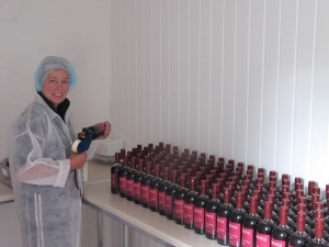 Hazel busy bottling